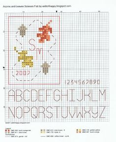 Cross Stitch Happy: Acorns and Leaves Scissors Fob