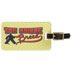 Hockey Goalie Unique Breed Custom Luggage Tag. Very easy to customize luggage tags! Just type your text in and go! To see more bag tags with sports designs, check out my store at: http://www.zazzle.com/gamefacegear*/ and you can find them in the 'Customizable Luggage Tags' category. #HockeyGoalie