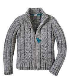 Another great find on #zulily! Heather Gray Cable Knit Zip-Up Cardigan - Boys #zulilyfinds