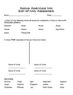 Here's a very nice end of unit assessment resource on Native Americans.