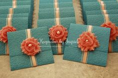 Teal and peach wedding invitation. For more info visit my Facebook page: Keepsakes by Ingrid