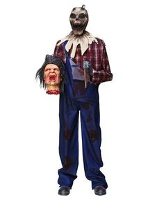 """This """"Barnyard Butcher"""" has gone mad and cut off a man's head... He moves and talks. $199.99 at Spirit Halloween."""