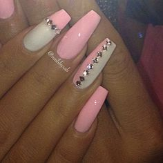 Coffin pink and white bling nails Sexy Nails, Hot Nails, Fancy Nails, Bling Nails, Hair And Nails, Fabulous Nails, Gorgeous Nails, Pretty Nails, Manicure E Pedicure