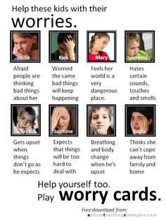 Anxiety is common in children with Asperger's and other autism spectrum disorders. Here is a set of 32 cards for you to download and cut out to play a therapy game. The cards feature eight children with different anxiety profiles. Card users identify with the children described on the cards and increase awareness of their own anxiety issues.