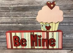Valentines Cupcake with Photo Block Holder - Wood Decor by ScrapHappyPagesStore on Etsy