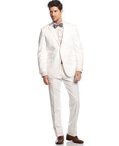 Perry Ellis White Linen-Blend Suit Slim Fit - Suits & Suit Separates - Men - Macy's