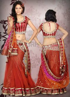 Bridal Party Wear Saree Dress Collection 2015 For Women.Have you got almost any Party Wedding expect style sarees are on the big event. Lehenga Choli Designs, Lehenga Sari, Bridal Lehenga Choli, Anarkali Suits, Indian Bridal Fashion, Indian Bridal Wear, Indian Dresses, Indian Outfits, Indian Clothes
