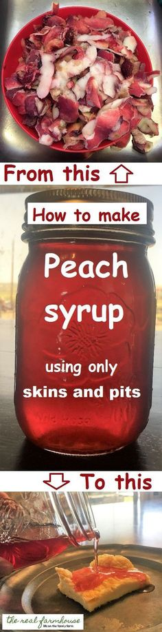 I knew there must be something you can do with those peach scraps! Don't toss out your peach scraps, make delicious peach syrup with them. Jam Recipes, Canning Recipes, Canning Tips, Can Peaches Recipes, Cooker Recipes, Recipies, Family Recipes, Beef Recipes, Salad Recipes
