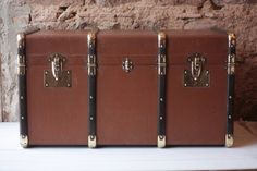 Large Antique French Leather & Wood Strapped Steamer Travel Trunk by FarmGateVintage on Etsy