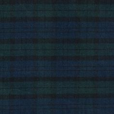 Mood Indigo and Trekking Green Plaid Brushed Wool Twill