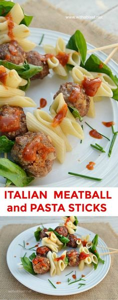 Serve these FUN Italian Meatball and Pasta Sticks for dinner, with veggies or salad on the side, or serve as an #Appetizer #Meatballs