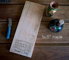 "5x15"" cheese board,  engraved wood cutting board, birthday, wedding…"