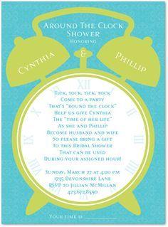 Around The Clock Bridal Shower Invitation Best Shower Invitations