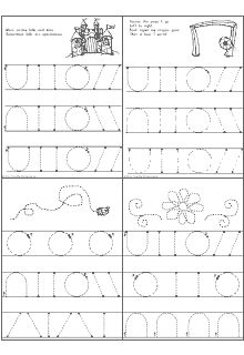 "Pre-Handwriting - Handwriting Readiness is a set of printable handwriting worksheets that allows a child to practice drawing the basic shapes of letters in the direction that they should be drawn. The set includes 5 ""fun"" sheets which allow a child to practice tracing and if desired, coloring. A certificate of completion is also included with the set. If one sheet is completed each day, 5 days a week, then the set would take 5 weeks to complete."