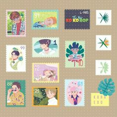 Kpop Stickers, Tumblr Stickers, Printable Stickers, Cute Stickers, Kpop Drawings, Cute Drawings, Exo Kokobop, Exo Fan Art, Journal Stickers
