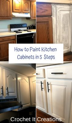 How to Paint Kitchen Cabinets in 5 Steps How to Paint Kitchen . How to Paint Kitchen Cabinets in 5 Steps How to Paint Kitchen Cabinets in 5 Steps - Crochet it Creations Diy Kitchen Remodel, Diy Kitchen Cabinets, Kitchen Redo, Kitchen Remodeling, Kitchen Counters, Kitchen Cabinet Makeovers, Refurbished Kitchen Cabinets, Kitchen Furniture, Kitchen Cabinet Remodel