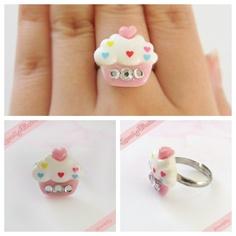 Sweet Cupcake Rhinestone Ring | $4.00    SHOP: www.etsy.com/shop/kawaiixcoutureHandmade decoden phone cases, jewelry, & accessories ♡