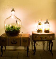 #vintage #koffers #glazen #potten #vazen #botanisch #tuintje #lampen
