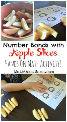 Such a fun, hands on way to help kids make sense of number bonds and look for patterns! Plus, free printables for extra practice! Math Activities For Kids, Math For Kids, Apple Activities, Math Resources, Teaching Math, Maths, Teaching Ideas, Kindergarten Math, Addition And Subtraction