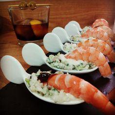 Canapes Faciles, Finger Foods, Coco, Sushi, Shrimp, Meat, Ethnic Recipes, Ideas Para, Gluten
