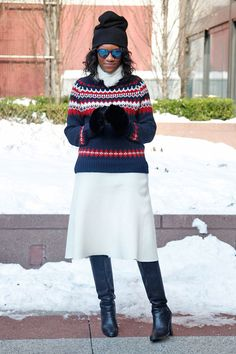 Sweater: J.Crew Ramsay Fair Isle Sweater; Skirt: Zara; Boots: Michael Kors; Collarl: Reformation Elk Collar; Hat: Rochas