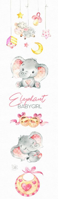 Elephant. Babygirl. Watercolor little animal clipart africa
