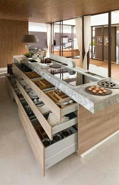 Modern Kitchen Interior Love this contemporary kitchen and look at those drawers.: - The kitchen is undoubtedly one of the most important spaces in the home and is the centre of activity in family life, a place to create, feel and live. Smart Kitchen, New Kitchen, Functional Kitchen, Awesome Kitchen, Kitchen Modern, Country Kitchen, Vintage Kitchen, Hidden Kitchen, Kitchen Hacks