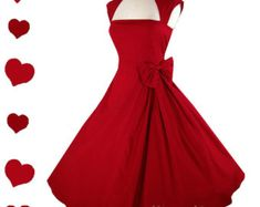 New Red Dress Rockabilly 50s Style Pinup S M L XL XXL Vintage Style Collar Bow Full Skirt Party