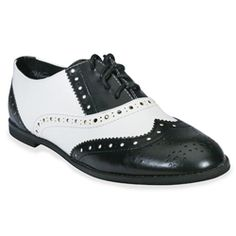 Lace-up wing-tip oxford; Myrtle in black & white $59.99