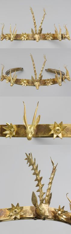 "Gold Headband with Heads of Gazelles and a Stag Between Stars or Flowers. Ca. 1648–1540 B.C., Egypt, h. of central stag 8.9 cm (3 1/2 in); l. of headband 49.5 cm (19 1/2 in). People from western Asia established themselves among the Egyptian inhabitants of the eastern Nile Delta at the time. The northern ""Hyksos"" culture combined Egyptian and Middle Bronze Age Levantine traditions. This diadem has Near Eastern affinities and is typical of the commingling of artistic styles."