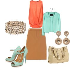 tan skirt outfit with coral & mint & ivory