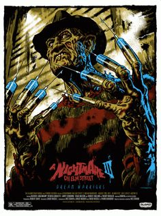 "Artist Jason Edmiston does it again with the poster for A Nightmare On Elm Street 3: Dream Warriors. This was for a screening of the film at the Alamo Drafthouse for their ""Terror Tuesday"" series. When I first saw this, I couldn't stop studying the artist's color choices, the overall design of the poster, down to the linework and shading techniques. I won't even get started with his type choice. EVERYTHING works for me with this Freddy art. KUDOS!"