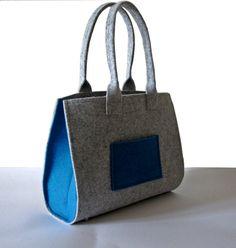 Handtasche Filz EVA Grau - Azurblau, puristisch & edel