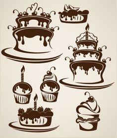 cartoon cake illustration silhouette   vector
