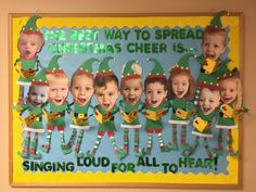 "Elf Christmas bulletin board ""The best way to spread Christmas cheer is singing loud for all to hear!"" ❤️ Elf Christmas bulletin board The best way to spread Christmas cheer is singing loud for all to hear! Fun Christmas, Preschool Christmas, Christmas Activities, Christmas Crafts For Kids, Christmas Door Decorations, Holiday Crafts, Xmas, Christmas Classroom Door Decorations, Christmas Carol"