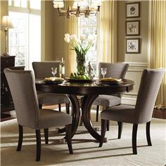 Kincaid Furniture Alston Round Dining Table & Four Upholstered Side Chairs - Colder's Furniture and Appliance - Dining 5 Piece Set Milwaukee...