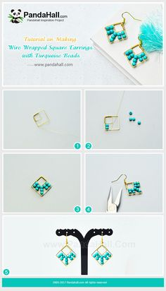 #PandaHall #JewelryMaking #Tutorial  on making a pair of #WireWrapped Square #Earrings with #Turquoise Beads