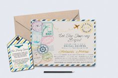 Travel Invitation/Travel Bridal Shower by RusticElegance18 on Etsy