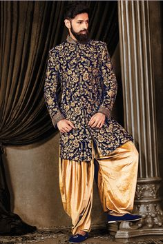 Samyakk Royal Blue Silk Embroidered indo western Sherwani