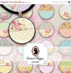 75% OFF SALE 1 inch Circle digital download SHABBY by cameoshoppe