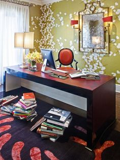 Very stylish home office with beautiful wallpaper pattern