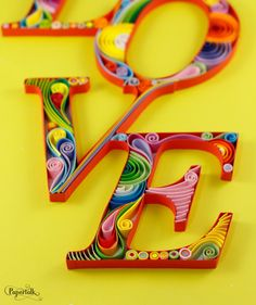 Typography Love Word Handmade Quilling Paper Wall by PapertalkVN