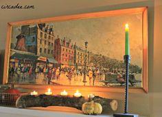 vintage Amsterdam print on fall mantel