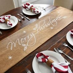 Merry Christmas Tan Table Runner | Kirklands  Great tablescape base for rustic displays, beach themes, shades of white, golden accents and more.