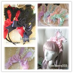 lolita wild exclusive original hand-made bunny ears headband multicolor into super value feedback HAH-12