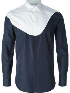 NEIL BARRETT fitted colorblock shirt