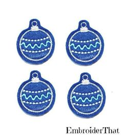 Blue Holiday Decorative felt ball applique by EmbroiderThat, $3.95