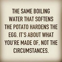 "Time for motivational quotes by blooming_on_a_budget The same boiling water that softens the potato hardens the egg.  It's about what you're made of not the circumstances."" #motivationalquotes #inspirationalquotes #encouragement  #motivation #inspiration #quotes #bloomingonabudget"