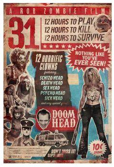 2016 A Rob Zombie Film 31 Horror Movie Vintage Design Wall Silk Poster 24 31 Rob Zombie, Rob Zombie Film, Zombie Movies, Scary Movies, Zombie Art, Cult Movies, Zombie Pics, Best Horror Movies, Horror Films