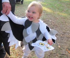 """Low on time and budget? You can make this super frugal no-sew owl costume for $3 or less and and about 4 hours of time. This Hedwig-inspired snow owl costume was made as part of a Harry Potter themed Halloween Family costume for a 15 month old child in size 18 month clothes, but you can adjust sizes to make this for a larger person or wear wings in a cape-style by using ribbon.This goes with our $2 Very Harry Halloween Pumpkins!If you like this post, PLEASE """"vote"""" at the top right ..."""